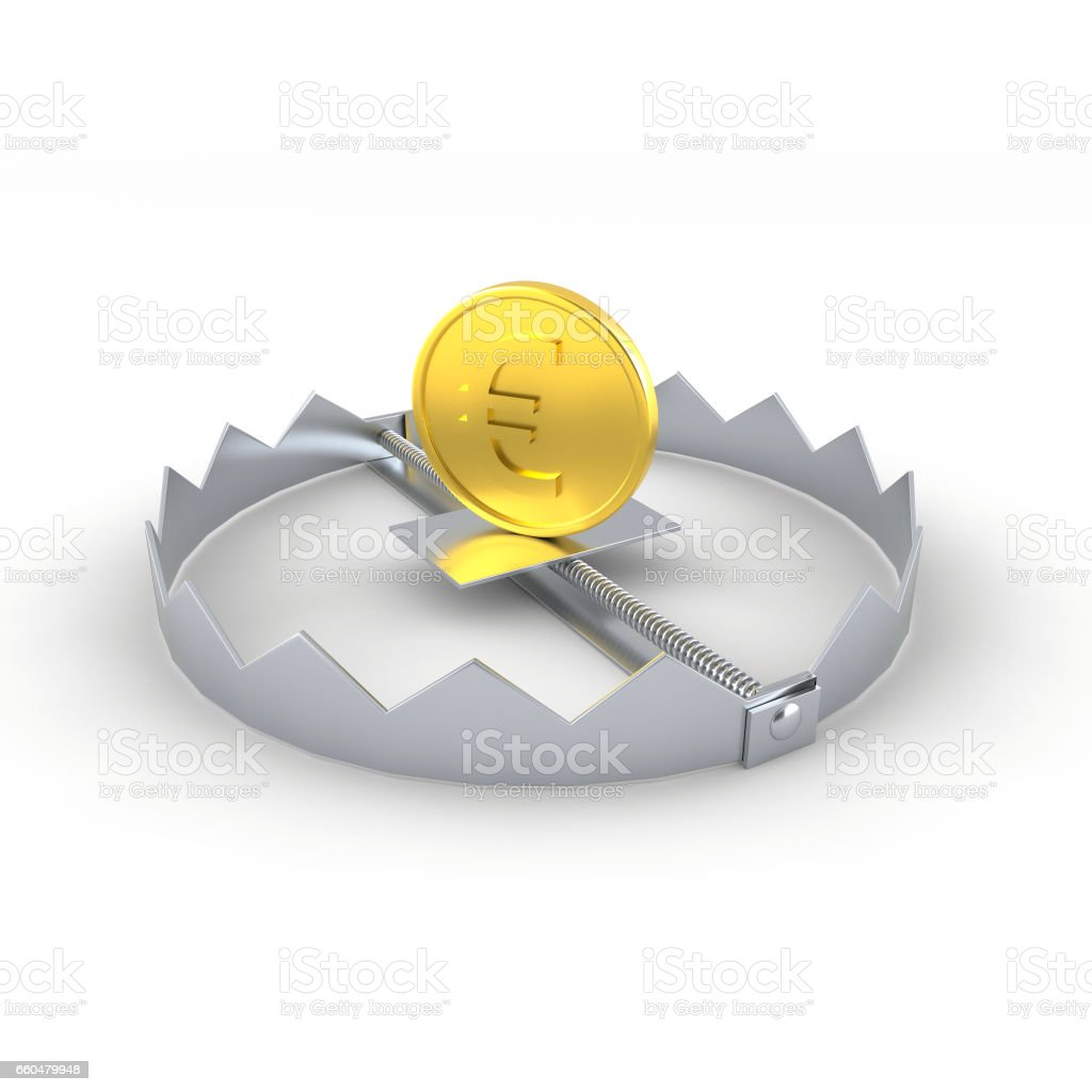 Euro coin in the trap stock photo