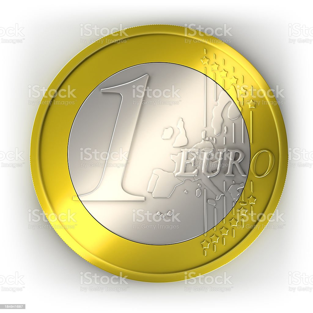 Euro coin, isolated with clipping path royalty-free stock photo
