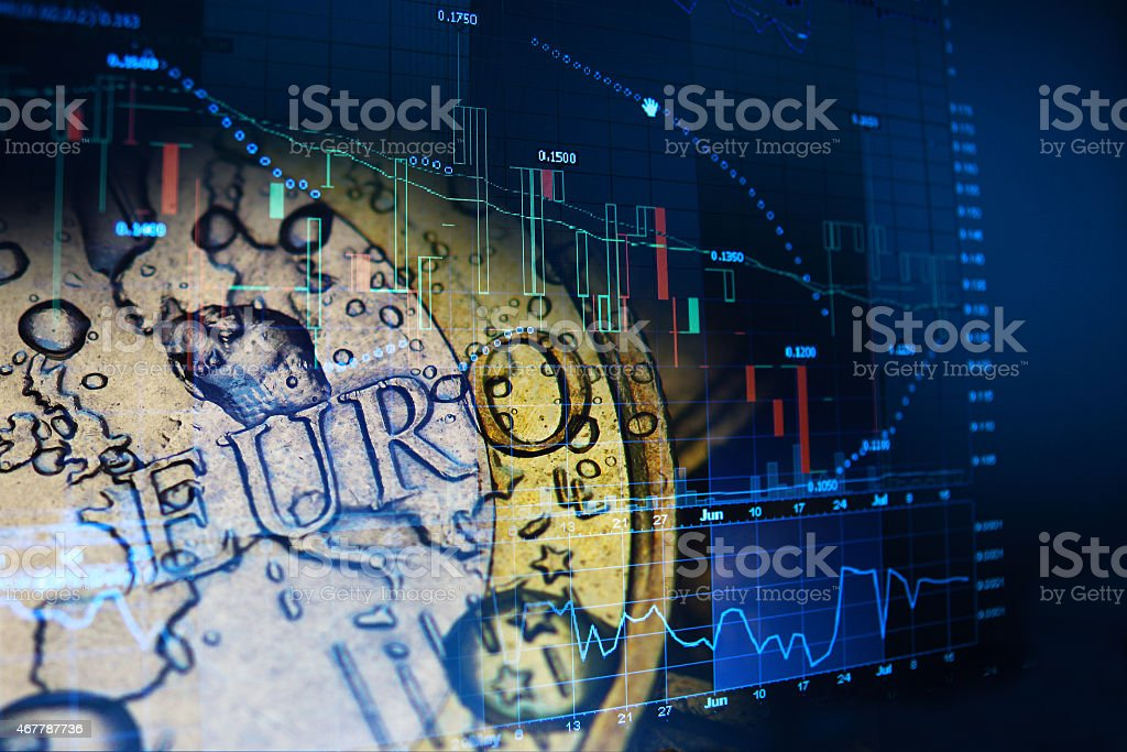 Euro coin looking for investment stock photo