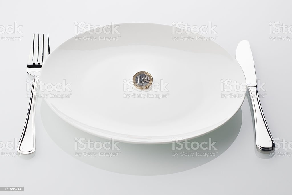 euro coin on empty white plate, symbol for crisis royalty-free stock photo