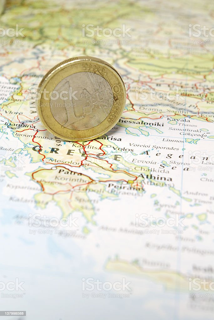 Euro Coin on Greece royalty-free stock photo