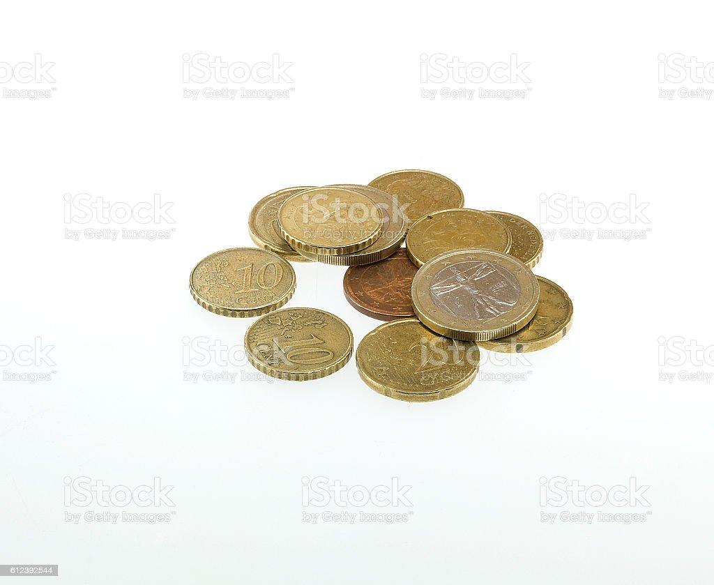 euro coin on white background stock photo