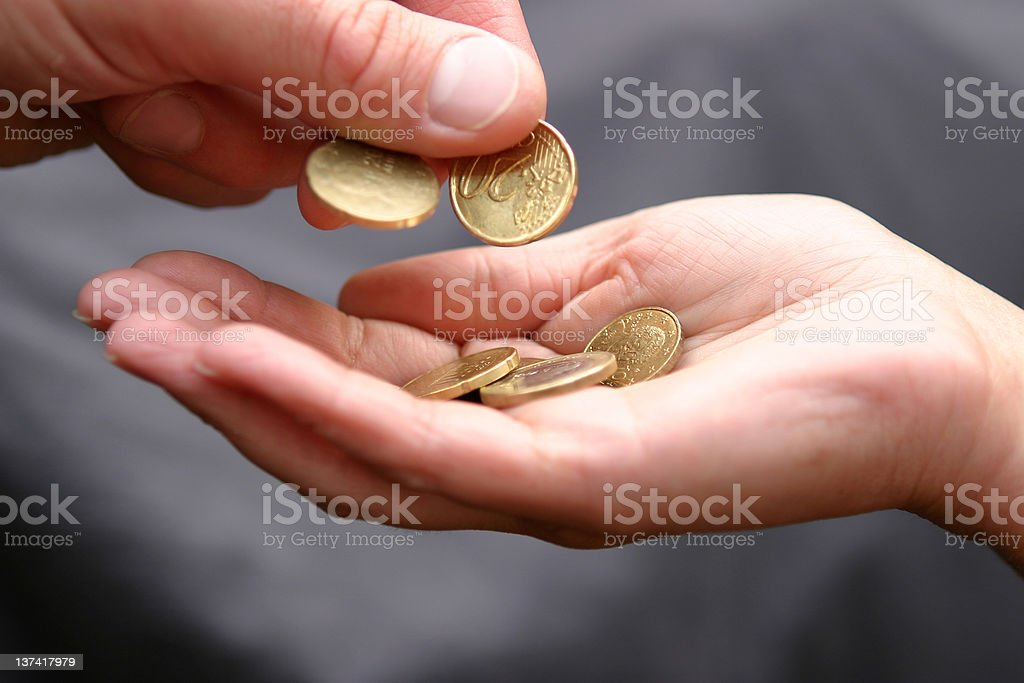 Euro coin payment stock photo