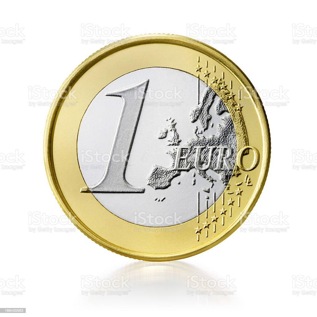 Euro coin (+clipping path) stock photo