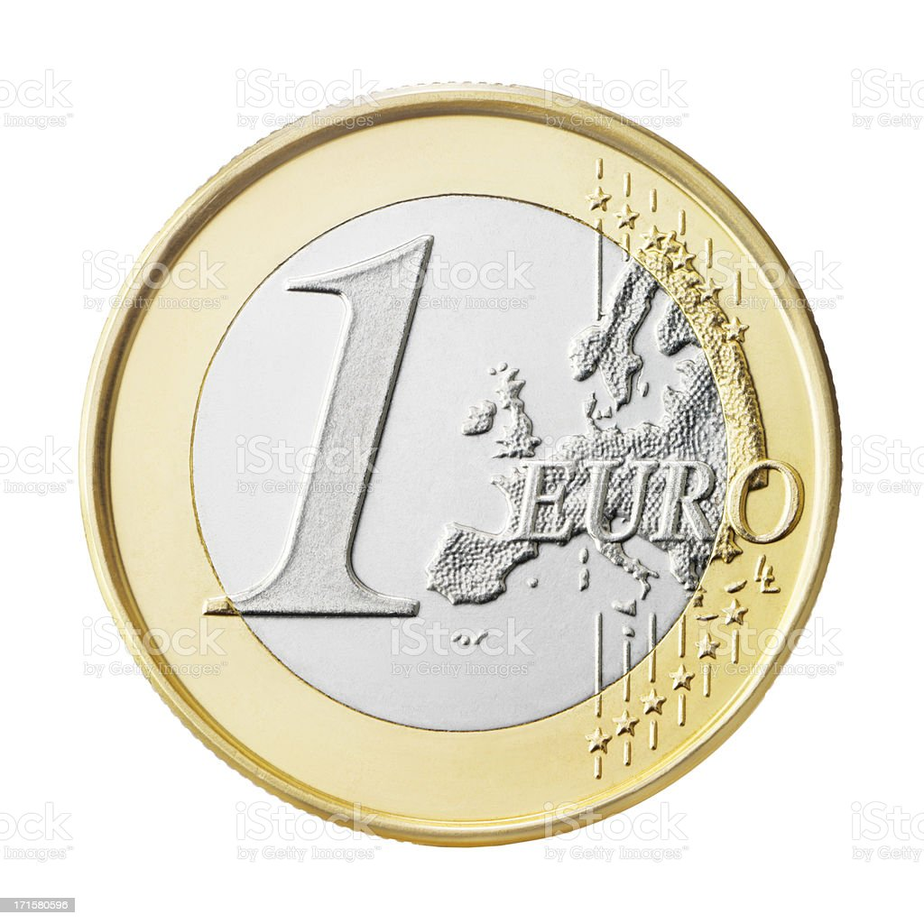 Euro coin (+clipping path) stock photo