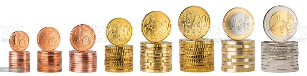 euro coin stack collection stock photo