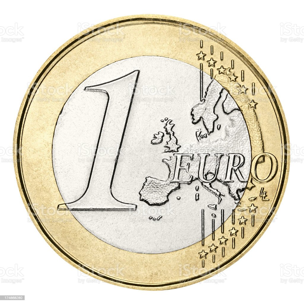 Euro coin with clipping path on white background stock photo