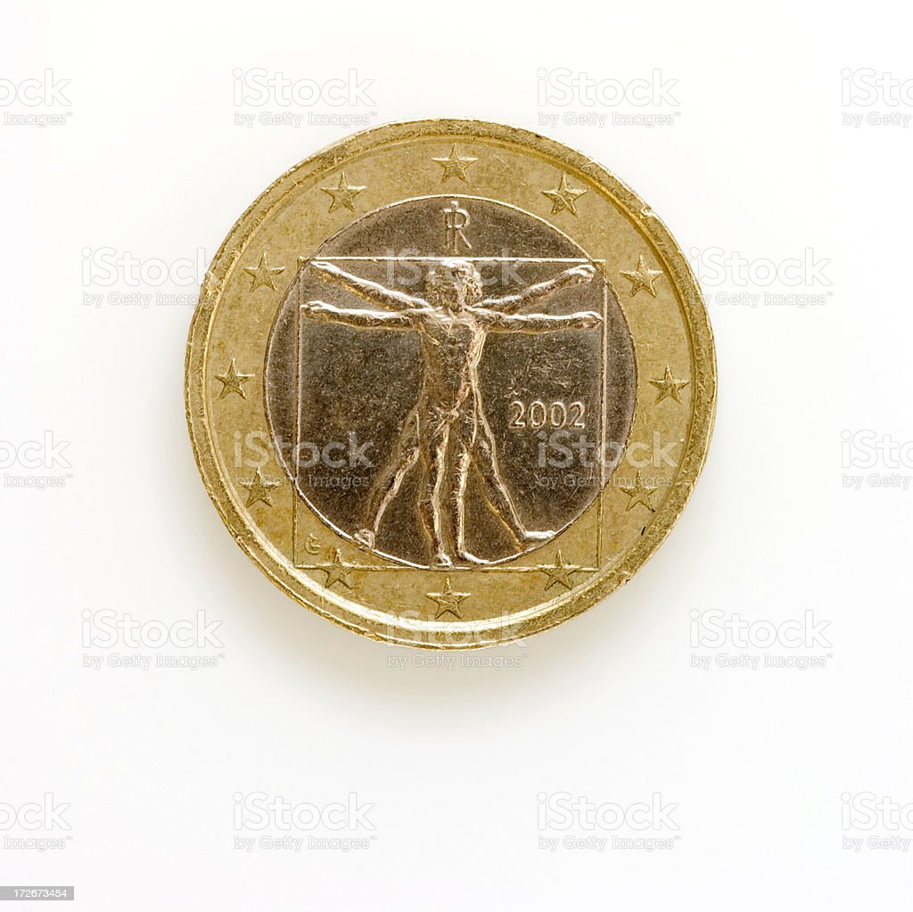 Euro Coin (Front) with Figure on White royalty-free stock photo