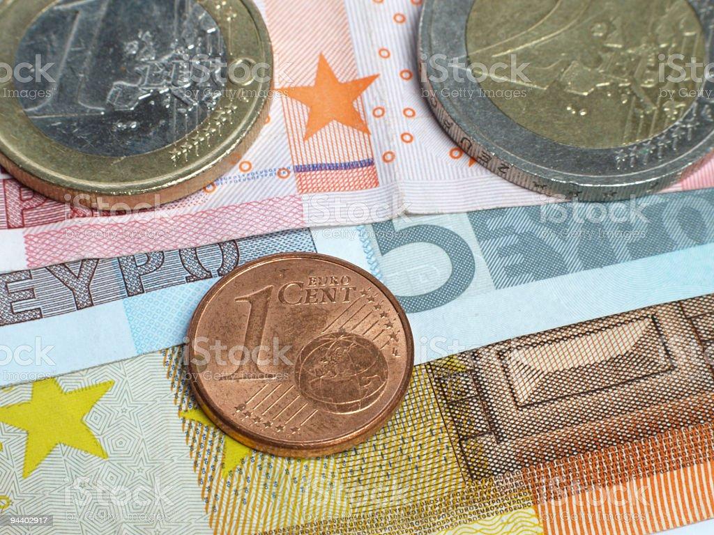 euro coins and bank notes stock photo
