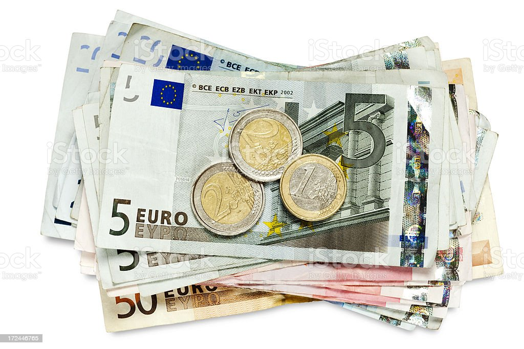 Euro coins and banknotes. stock photo