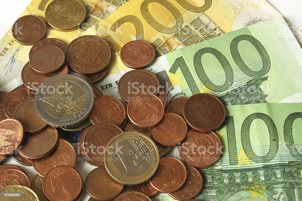 Euro coins and banknotes royalty-free stock photo