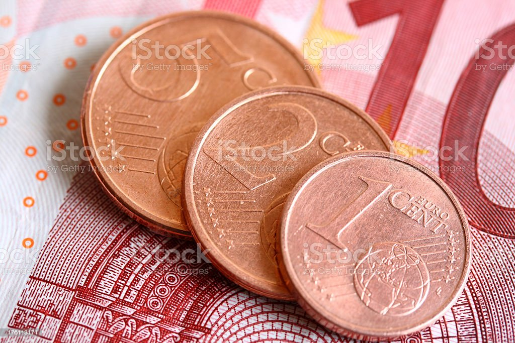 Euro Coins and Bill stock photo