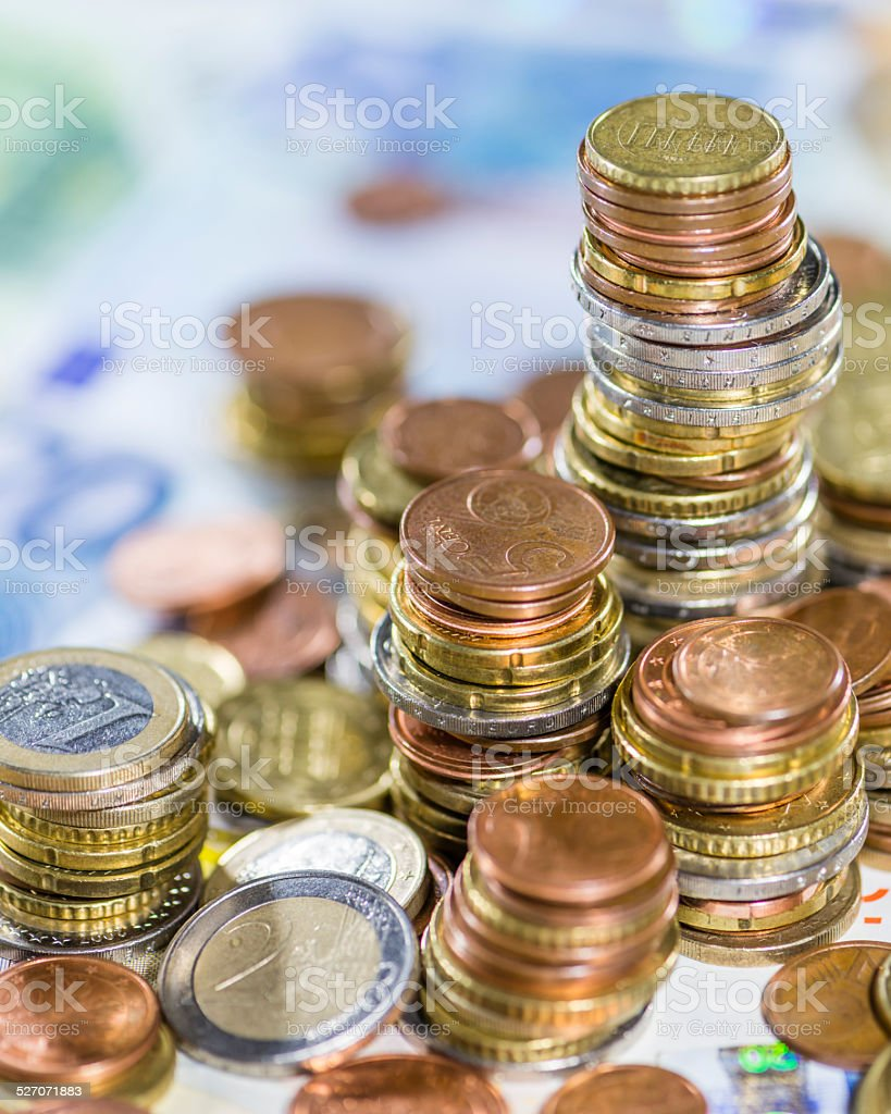Euro Coins and Bills stock photo