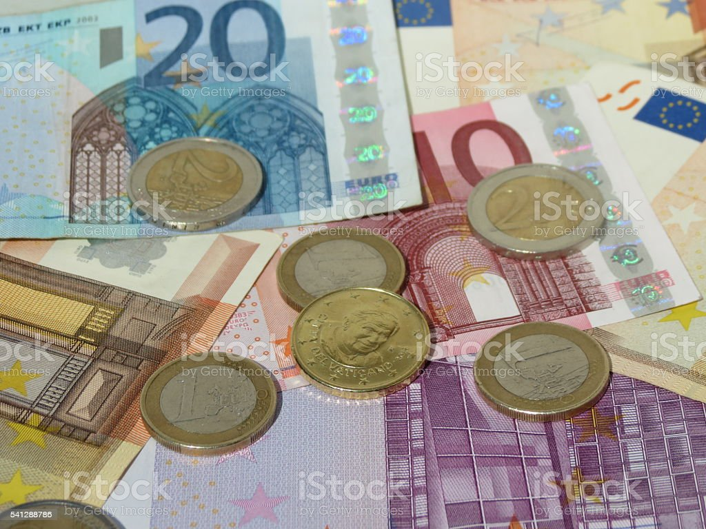 Euro coins and notes stock photo