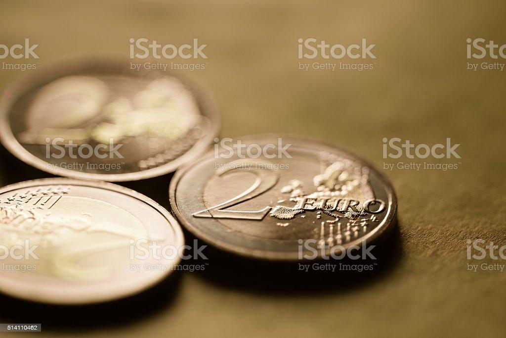 Euro coins background stock photo