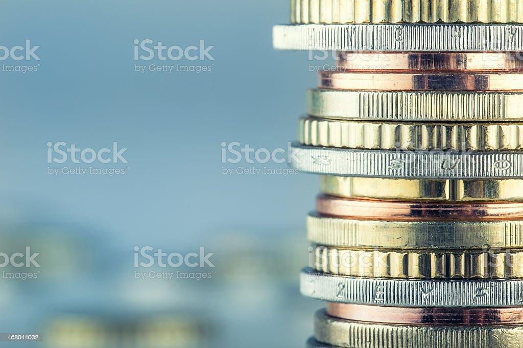 Euro coins. Euro money. Euro currency. stock photo