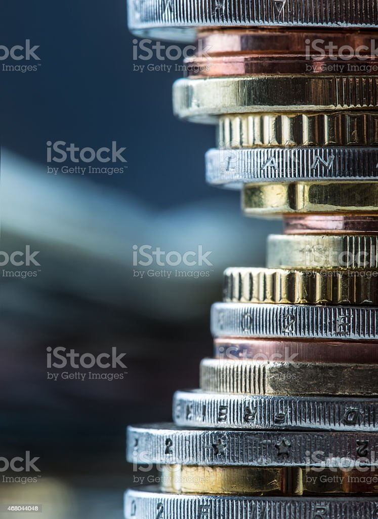 Euro coins. Euro money. Euro currency. stock photo