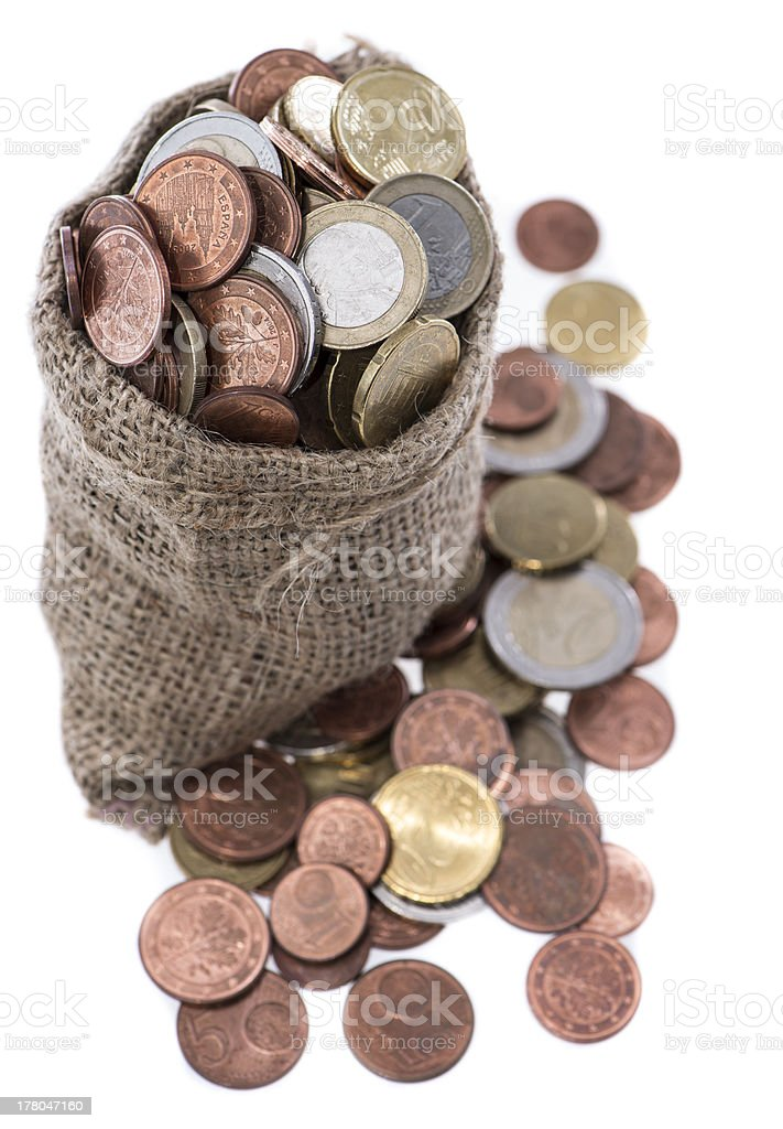 Euro Coins in a small bag royalty-free stock photo