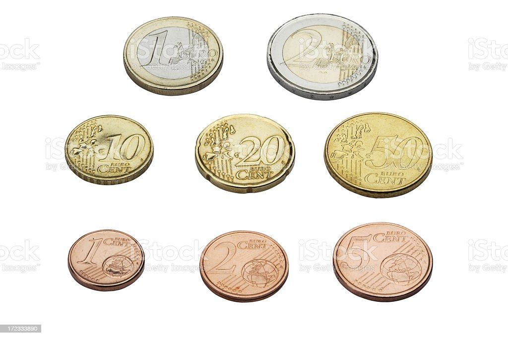 Euro coins in perspective stock photo