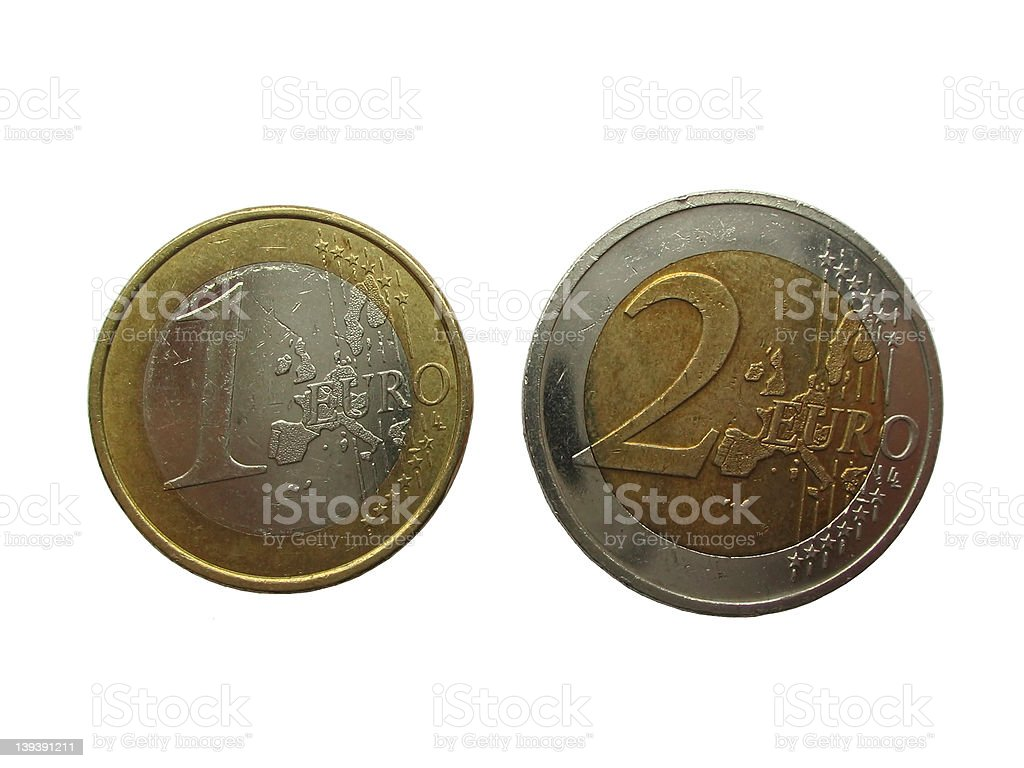 euro coins isolated royalty-free stock photo