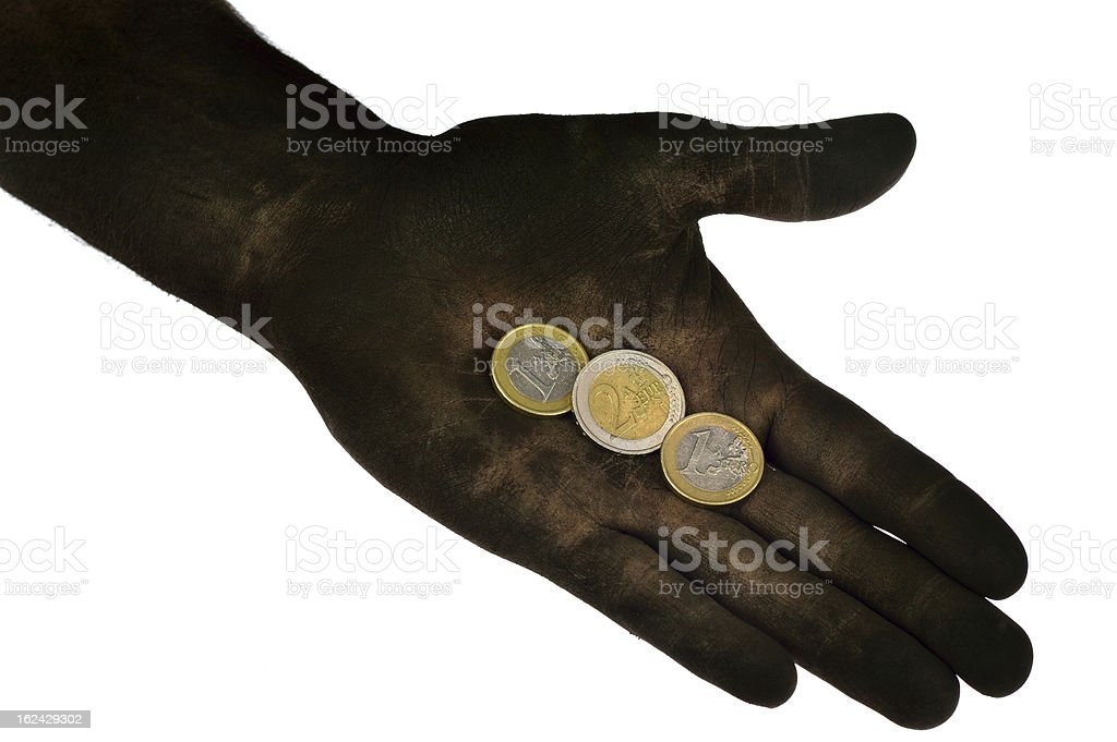Euro coins lying on dirty hand. royalty-free stock photo