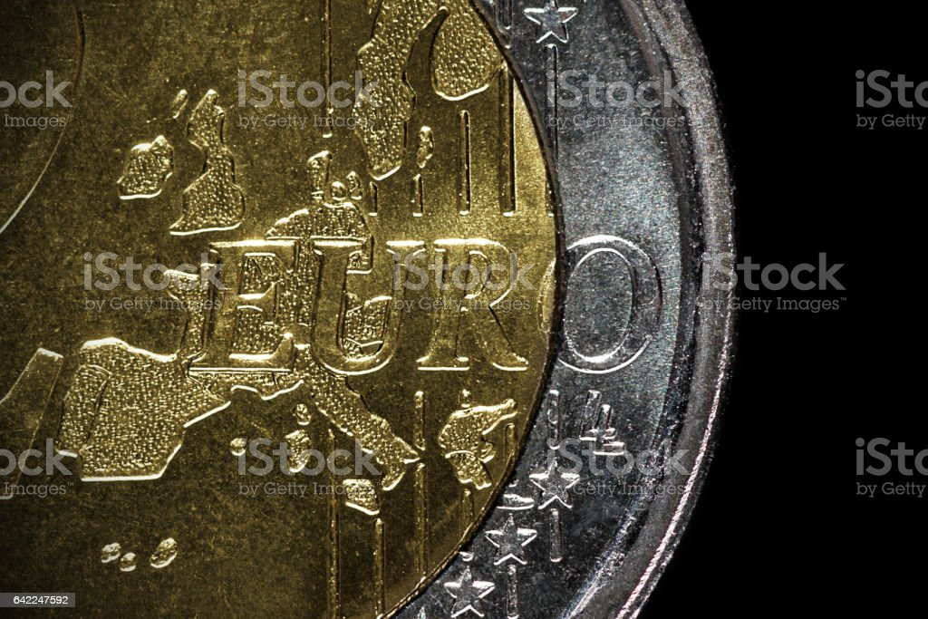 2 Euro coins macro stock photo