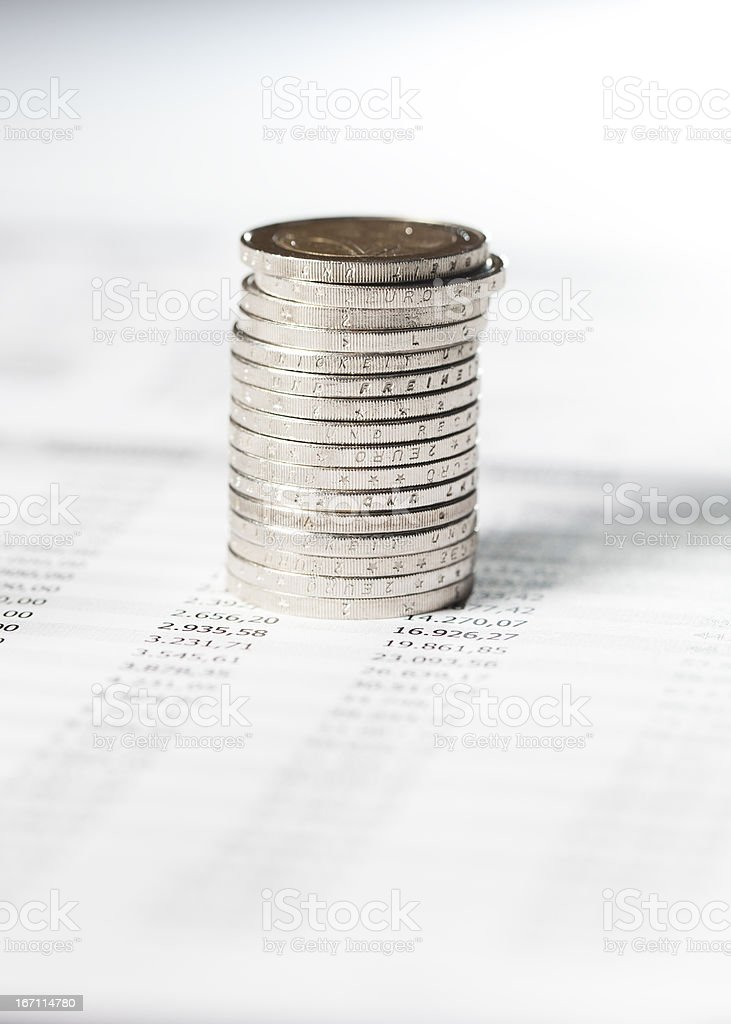Euro Coins On Financial Paper royalty-free stock photo