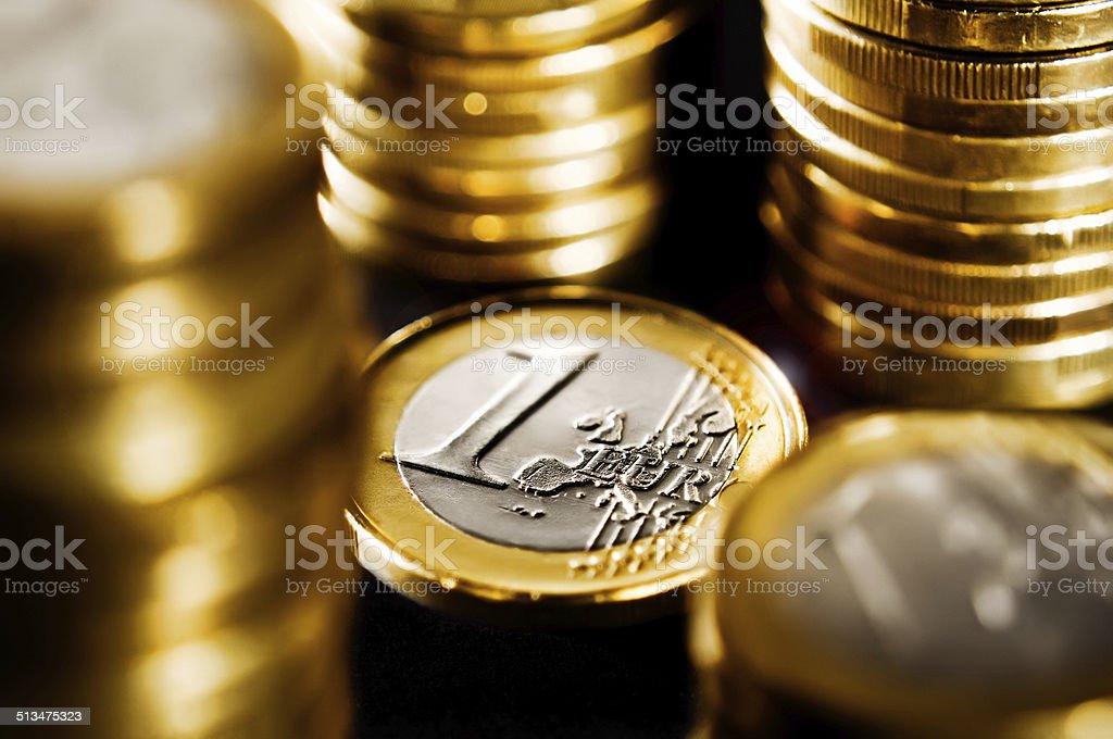 1 Euro coins stock photo