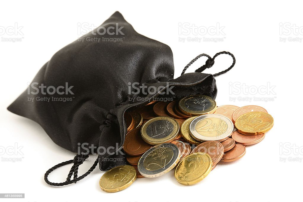 Euro coins pouring out of black bag on white background stock photo