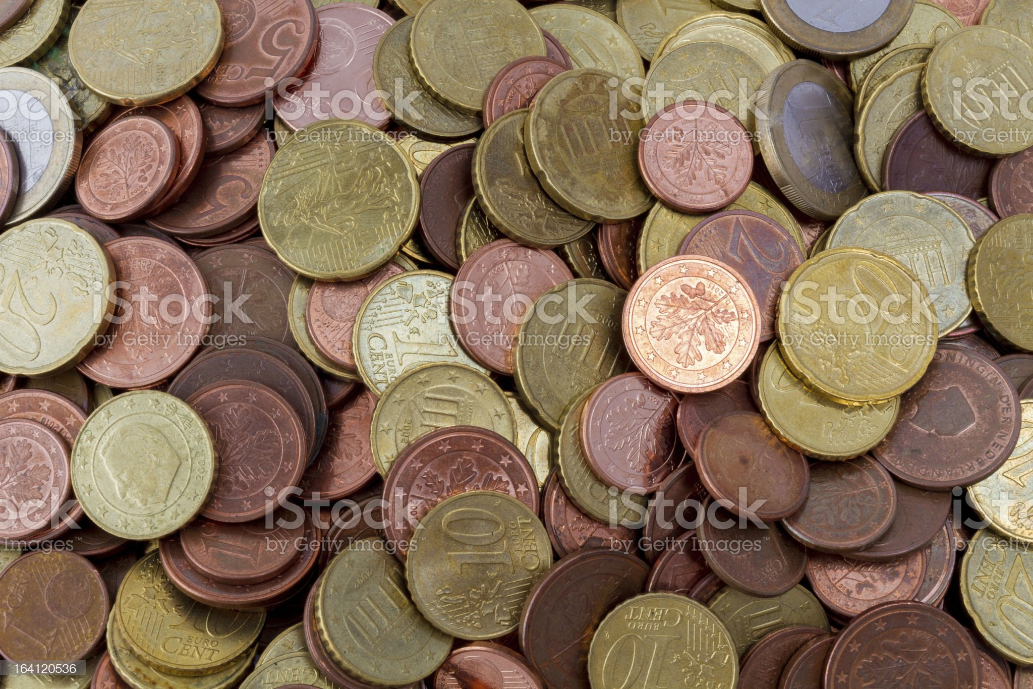 Euro coins top view royalty-free stock photo