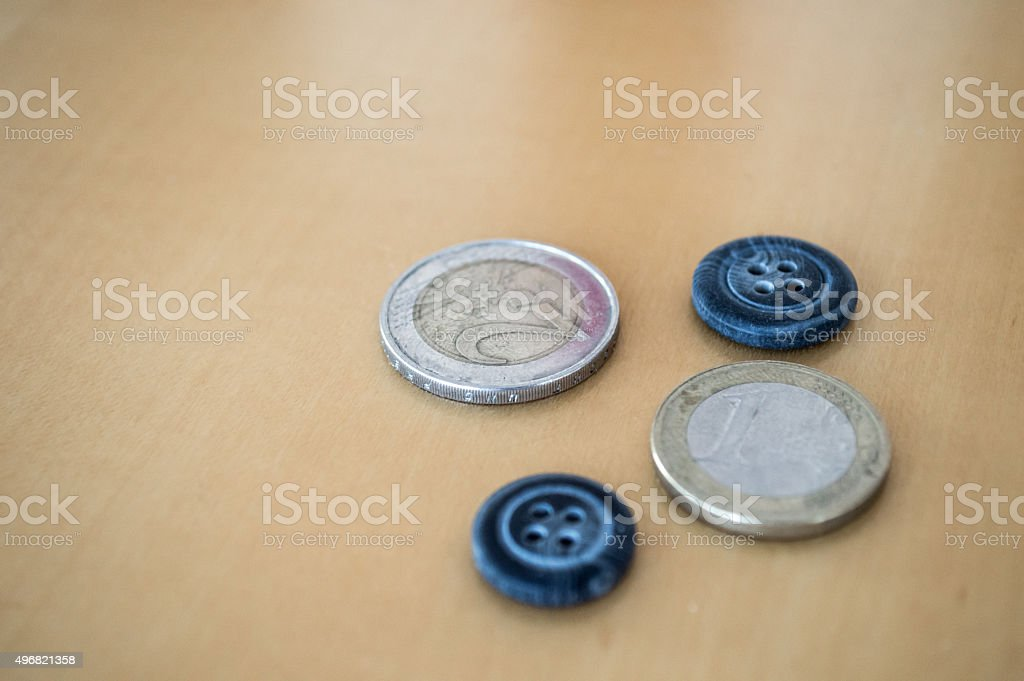 Euro Coins/Cash and Buttons royalty-free stock photo