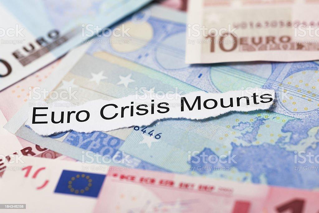 Euro Crisis Mounts Financial Headline Topic royalty-free stock photo