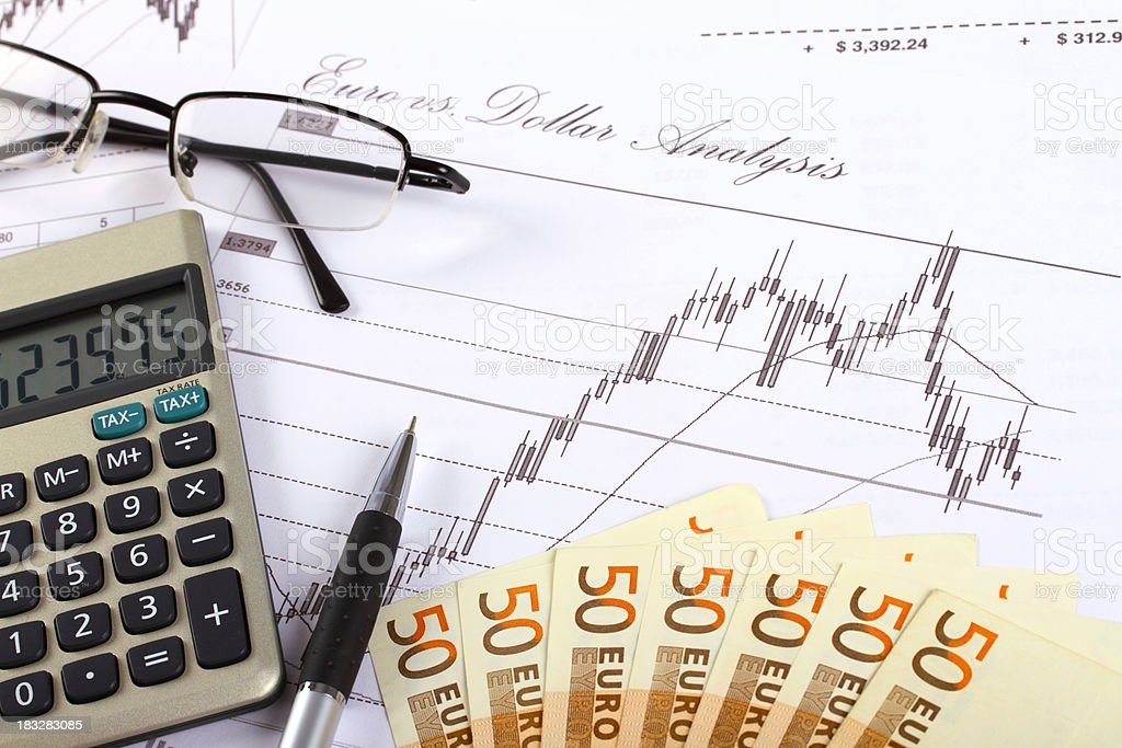 Euro currency chart analysis royalty-free stock photo