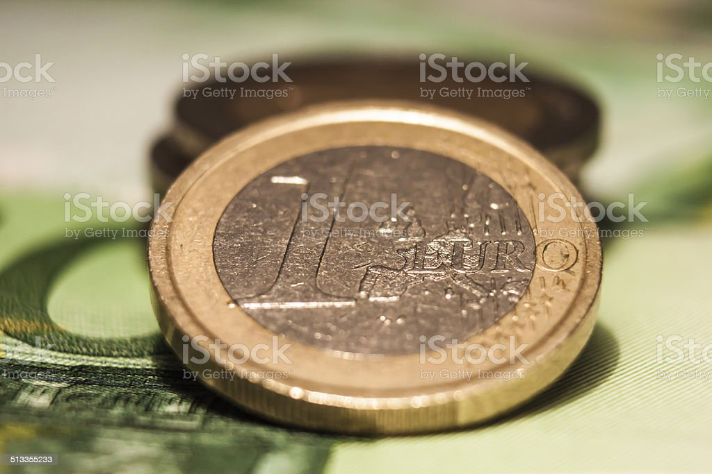Euro Currency Macro Concept stock photo