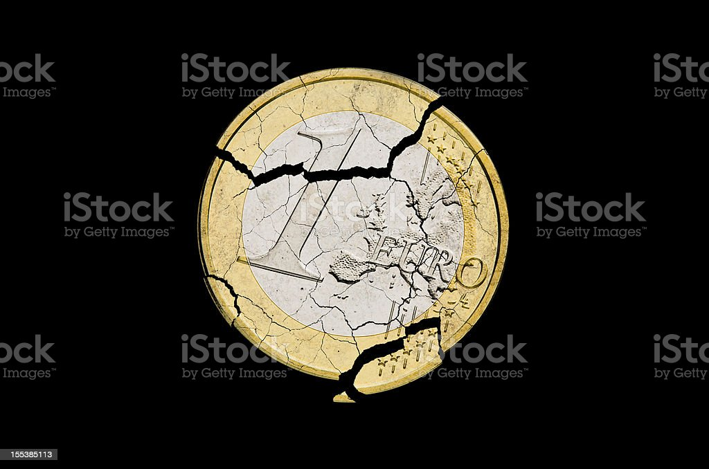 Euro damaged stock photo