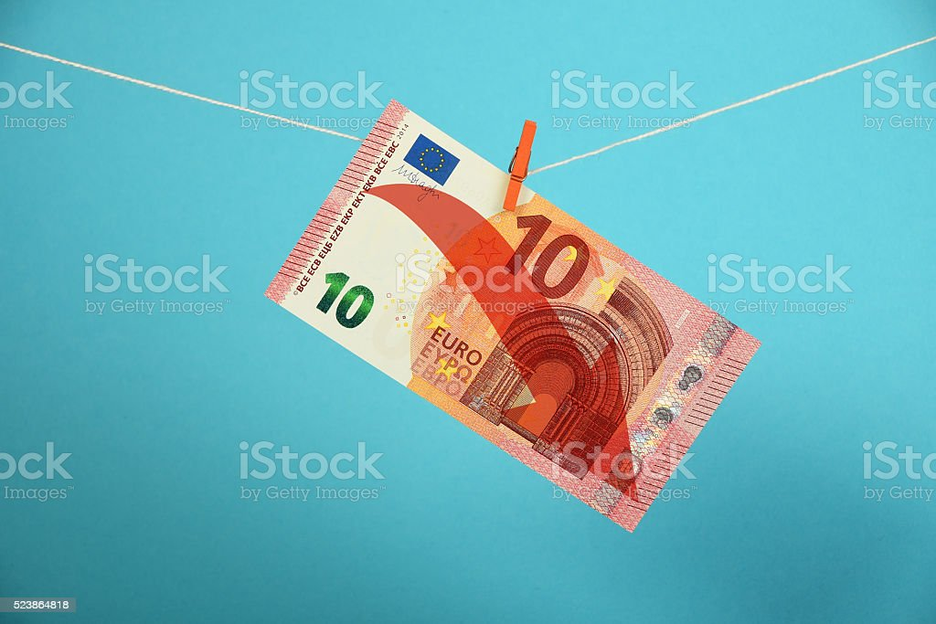 Euro decline illustrated over blue royalty-free stock photo