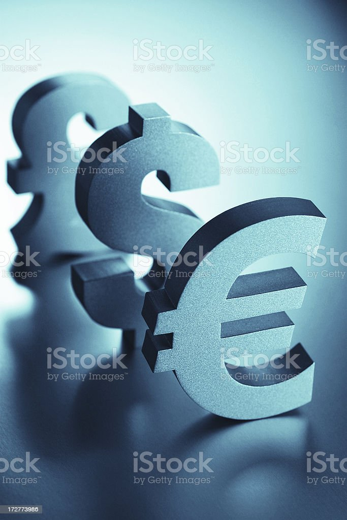 Euro, Dollar and Pound Signs royalty-free stock photo