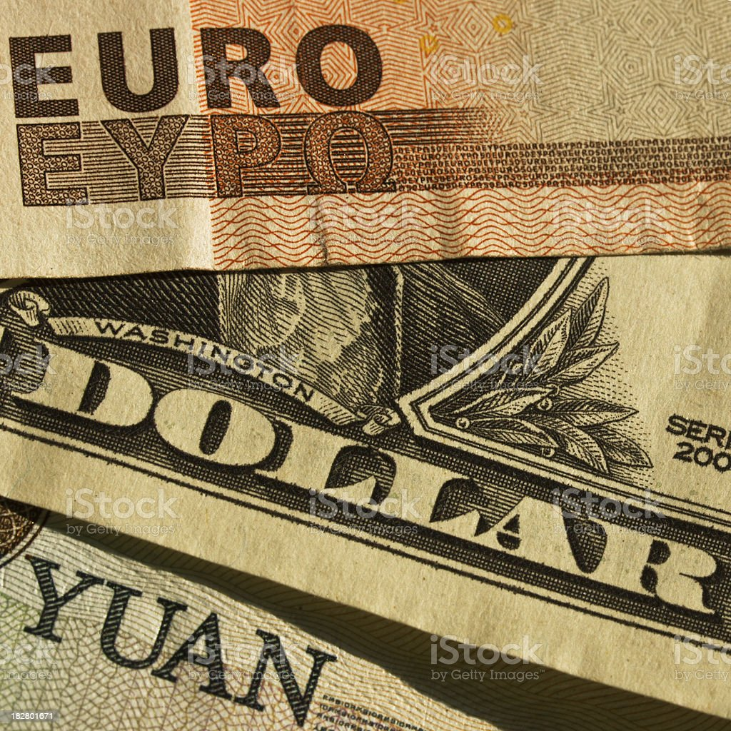 Euro, Dollar and Yuan royalty-free stock photo
