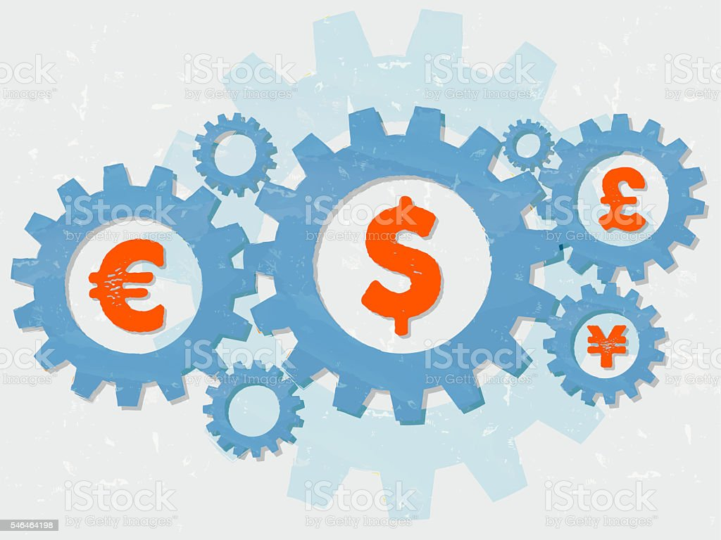 euro, dollar, pound and yen signs in gears stock photo