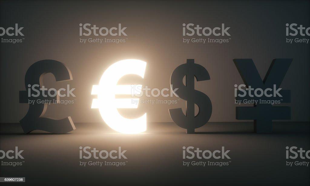 Euro, Dollar, Pound, Yen stock photo