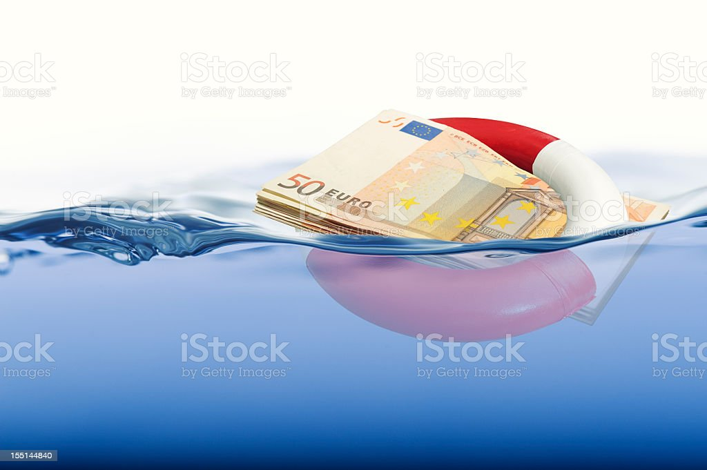 Euro floating in a life ring on water stock photo