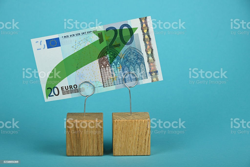 Euro growth illustrated over blue royalty-free stock photo