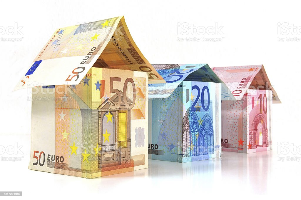 Euro Houses With Banknotes stock photo