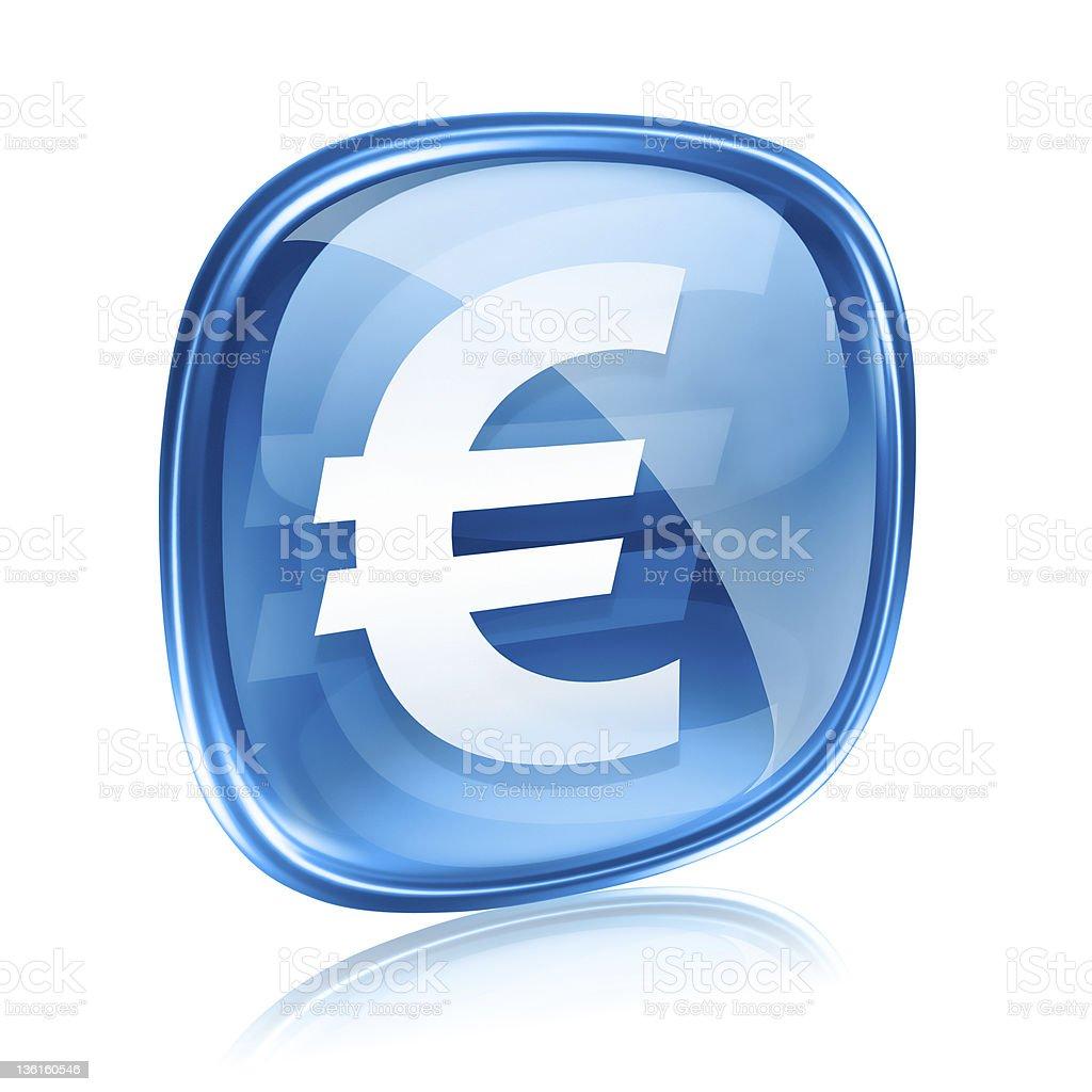 Euro icon blue glass, isolated on white background stock photo