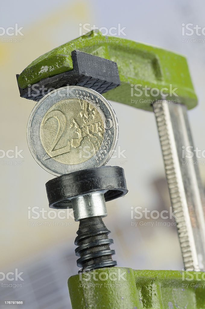 Euro in a clamp royalty-free stock photo
