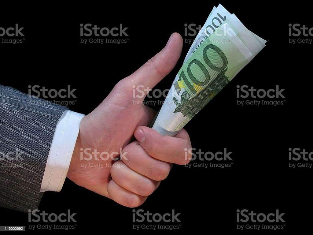 Euro in a hand of the man royalty-free stock photo