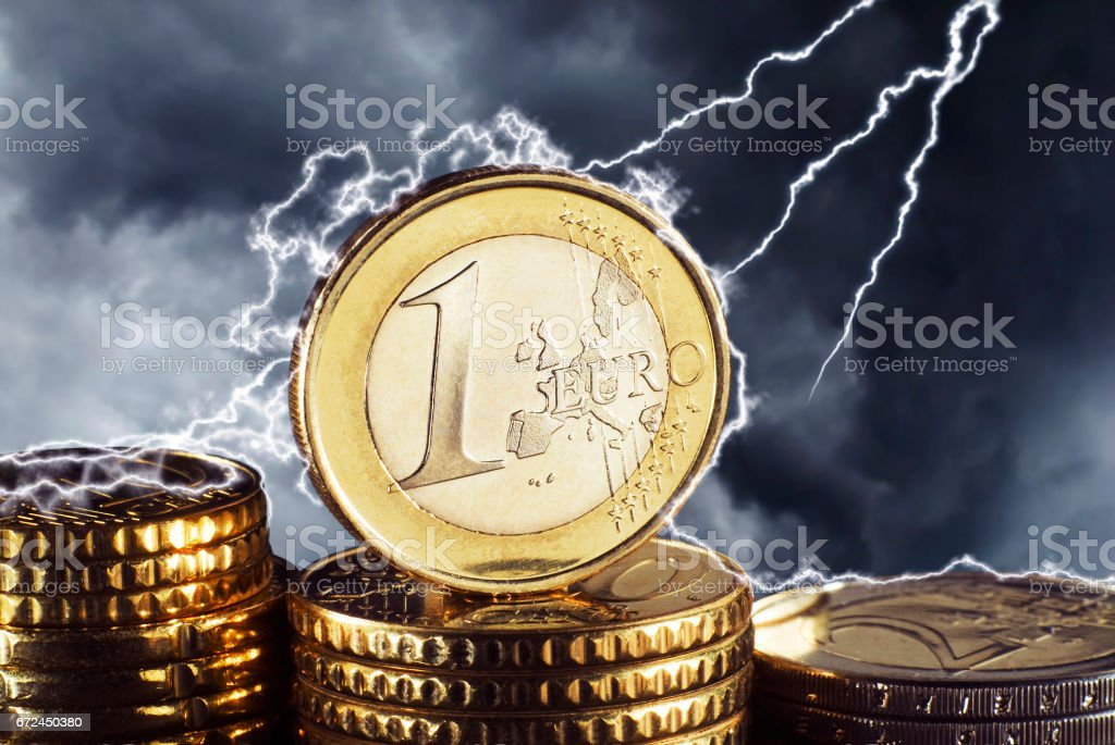 Euro im Sturm stock photo