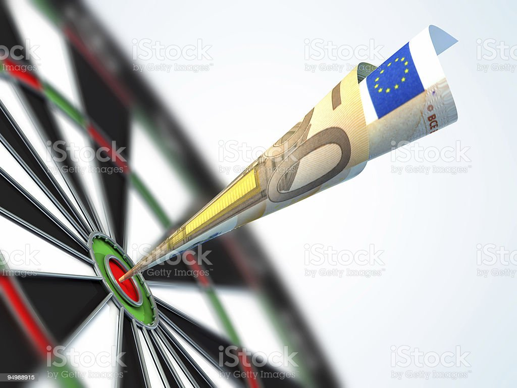 Euro in bull's-eye stock photo