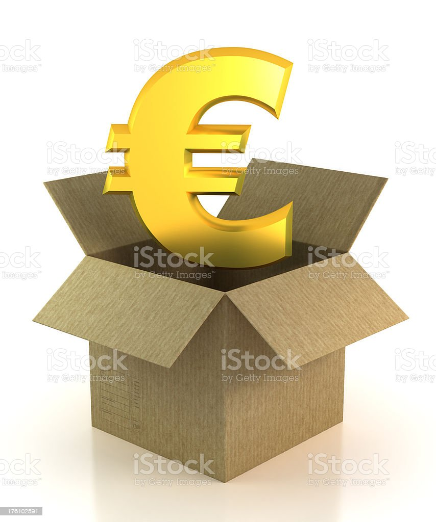 Euro in cardboard box - isolated with Clipping Path royalty-free stock photo