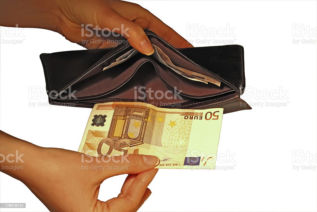 Euro in hand royalty-free stock photo